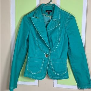 Bebe jacket size 2 aqua blue jean style one button